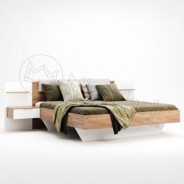 Ліжко Асті 1,6х2,0 м'яка спинка з тумбами глянець білий